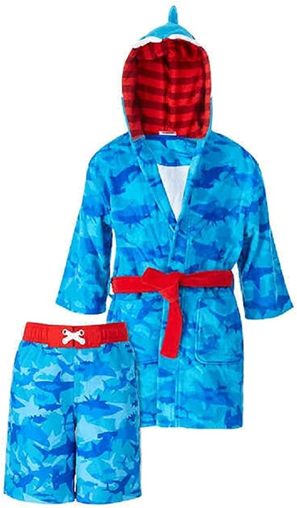 Saint Eve Youth Beach Cover Up and Swimsuit Set, Shark