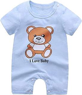LAANCOO LAANCOO für Kinder Frühling-Sommer-Kleidung SetBaby Strampler Kleinkind-Jungen-Mädchen-Baby Onesies Kurze Hülsen-Overall-Bär 80cm