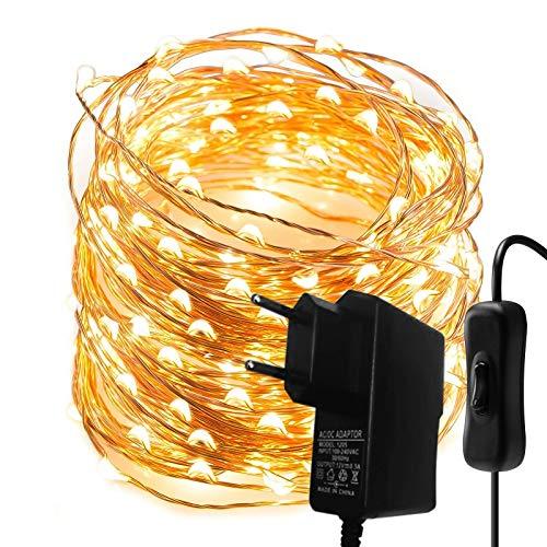 Cadena de luces LED de 10 m, 100 luces de color blanco cálido, alambre de cobre, con interruptor, impermeable, para fiestas, bodas, Navidad, dormitorio, interior y exterior