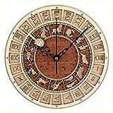壁掛け時計大きな創造的な木製の壁掛け時計モダンなデザイン12の星座をテーマにしたアンティークスタイルの吊り時計木製の壁時計家の装飾図書館のバスルームに適しています