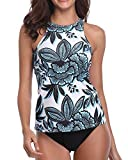 Holipick White Floral Women Tankini Swimsuits High Neck Halter...