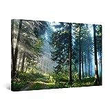 Startonight Quadro su Tela Strada nella Foresta, Grandi Quadri Alberi Moderni Stampe Camere da Letto 80 x 120 cm