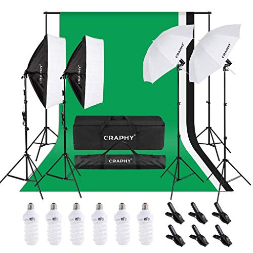 CRAPHY Kit Éclairage Studio Photo, 2000W Kit Studio Photo avec 3 Softbox avec 4 Douilles + 12x45W Ampoules + 3x80(2m) Trépieds + 3 Fonds + 2mx3m Support de Fond+ Sac de Transport