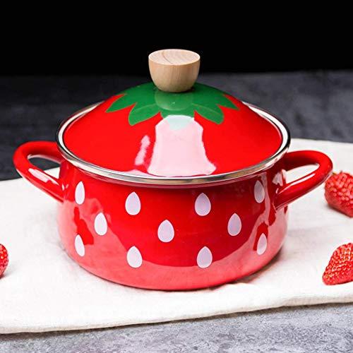 SSB - Padella antiaderente per latte smaltato, pentola, mini scaldabiburro, rivestimento in pietra con manico in legno, per cucinare alimenti per bambini con filtro C 14 x 15 cm
