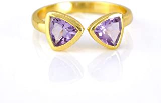 Double February Birthstone, Dual Triangle Purple Amethyst Ring, Geometric Adjustable Ring, 18K Vermeil Gold Ring [rTrB]