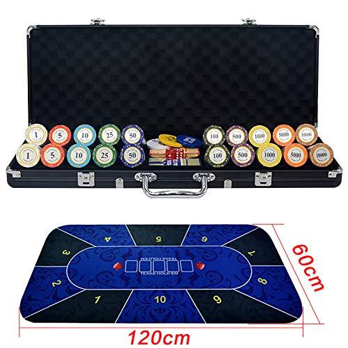 YZJJ Pokerset mit 500 Laser-Chips | Pokerkoffer Alu | Pokerchips | Poker Komplett Set | Pokerkoffer mit Tuch /2 Pokerdecks