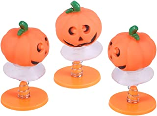 Lsmaa 3pcs Halloween Pumpkin Head Dolls Dancing Noddig Toys Car Dashboard Table Decor