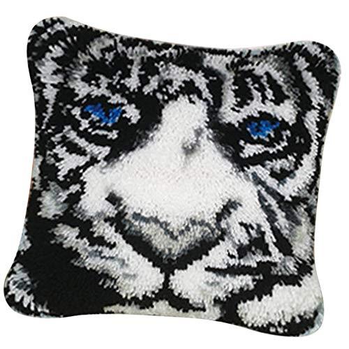 dailymall Animal Latch Hook Kit Cushion Cover DIY Craft Needlework Crocheting 17x17'' - Tiger White