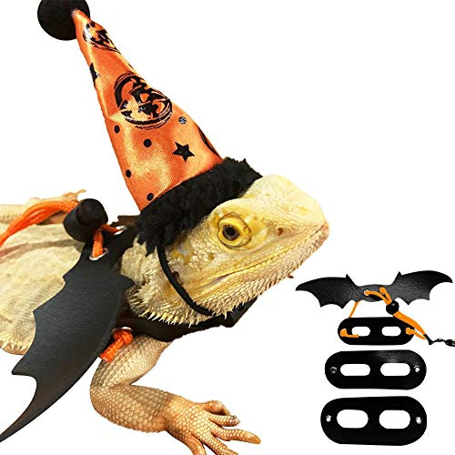 Adjustable Bearded Dragon Harness and Leash, Leather Reptile Leash Outdoor Harness Leash with Bat Wings for Lizard Reptiles Amphibians Small Pet Animals(1xHat,3xChest Strap Leash,S/M/L)