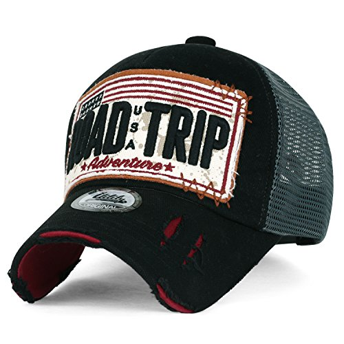 ililily Strasse Trip klassischer Stil abgenutztes Aussehen Snapback Trucker Cap Hut Baseball Cap, Black