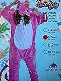 KRAZY TOYS Pijama Animal Entero Unisex para Niños como Ropa de Dormir-Traje de Disfraz para Festival de Carnaval (Unicornio Fuscia, 10-12)
