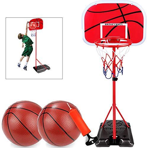 Yajun Kinder Einstellbare Verstellbarer Basketballkorb Halter mit Ständer Tragbares Mini Innenschießset mit Inflator Für im Alter von 3-6-8 Jahren,2m