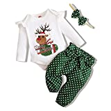 NZRVAWS Baby Girl Christmas Outfit Infant Girl Clothes Newborn Christmas Outfits for Girls Reindeer Xmas Romper Pant Headband