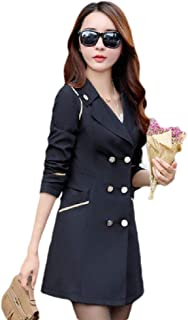 MogogoWomen Oversized Lapel Outwear Button Custom Fit Jacket Trench Coat