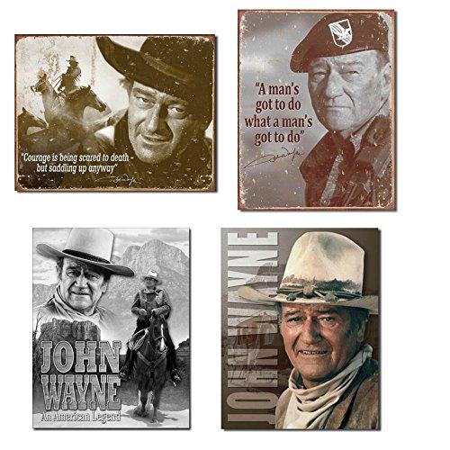 Bundle: Retro Tin John Wayne Sign Set - John Wayne Courage, John Wayne Man's Gotta Do, John Wayne American Legend and John Wayne Stagecoach