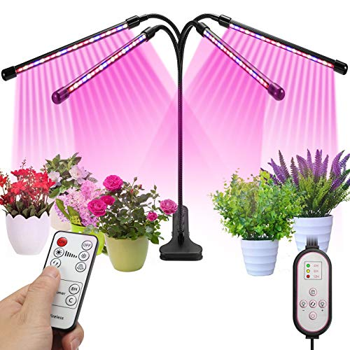 Grow Light,CONMG LED Grow Light for Indoor Plants,80 LED Full Spectrum Floor Grow Lamp with Dual Controllers, 4/8/12H Timer, Adjustable Gooseneck,3 Switch Modes (Clip Style)