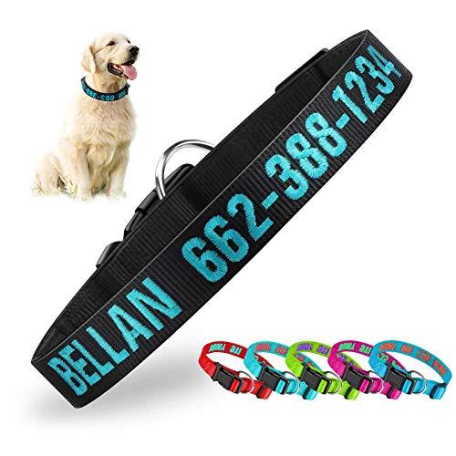 Hundehalsband, individuell bestickte ID-Nylonhalsbänder für Hunde Seitliche Entriegelungsschnalle Neopren-Hundehalsband Weich verstellbare Basis-Hundehalsbänder für kleine mittelgroße große Hunde