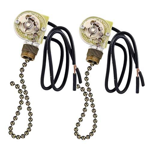 Ceiling Fan Switch Ceiling Fan Pull Chain 3 Speed fan switch,Zing Ear ZE-109 ON-OFF Pull Chain Lamp Switch for Ceiling Fan Lights Bronze 2 PACK