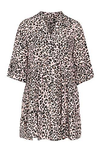 PAPRIKA Damen große Größen Tunika-Kleid aus Viskose mit Tierfell-Print Maokragen 3/4 Ärmel