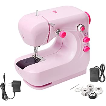 Mini Electric Sewing Machine, Portable Household and Lightweight Sewing Machine for Beginner, Sewing Made Easy with Double Thread and Free Arm, Adjustable 2-Speed with Foot Pedal for Kids