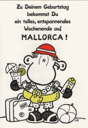 Sheepworld Geburtstagskarte Mallorca