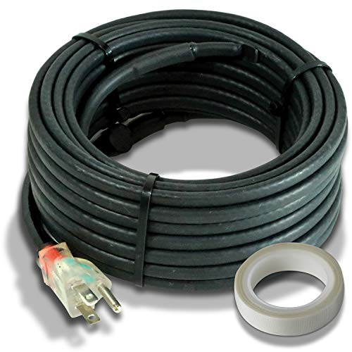 Heat Cable for Pipe Freeze Protection, 24 feet, with Built-in Thermostat and 16 Feet of High-Temp...