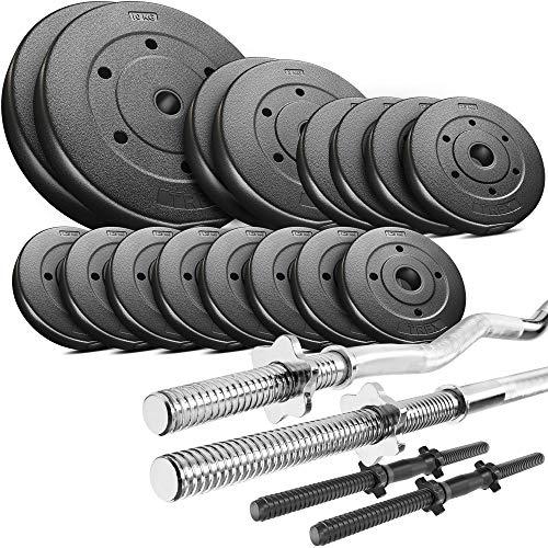 Trex Hantelset Lang-, Curl- und Kurzhantelstange mit Gewichten 50kg bis 160kg zur Wahl (50kg)