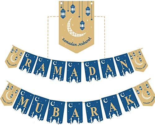 Funnlot Ramadan Mubarak Banner Ramadan Dekorationen Ramadan Wimpelkette DIY Ramadan Banner Party Dekorationen für Zuhause