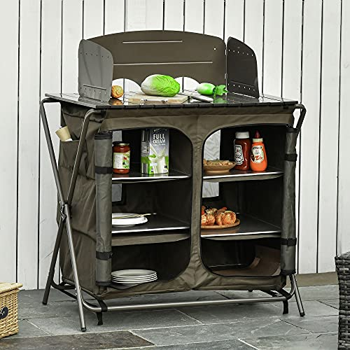 Outsunny Armario Cocina de Camping Plegable con Paraviento 6 Estantes Bolsa de Almacenaje Puertas con Cremallera para Acampada Picnic 94x57x109 cm Verde