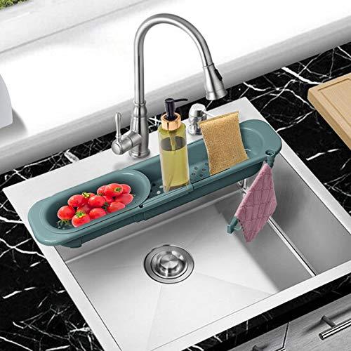 Telescopic Sink Holder, Expandable Kitchen Sink Organizer Rack SFSWYXGS Sponge Caddy Sink Storage Rack Holder Adjustable Sink Caddy Kitchen Sink Organizer Dish Cloth Hanger for Home Kitchen ( Green )