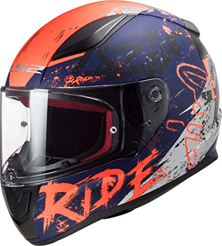 LS2 Motorradhelm FF353 RAPID NAUGHTY MATT BLUE FLUO Orange, Schwarz/Orange/Blau, S