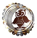 WorldaWhirl Whirligig 3D Wind Spinner Hand Painted Stainless Steel Twister Owl(12' Inch, Silver / Bronze)