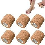 nuluxi 6 stück Selbsthaftend Bandage Hautfarbe Elastisch wasserabweisend Bandage Medizinische Fixierbinde für Verstauchungen Schwellungen und Schmerz an Handgelenk und Knöchel (Hautfarbe)