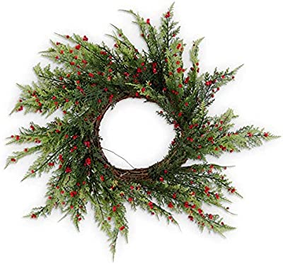 K&K Interiors 54514D 24 Inch Pine Pepper Berry Real Touch Wreath on Vine Base, Green
