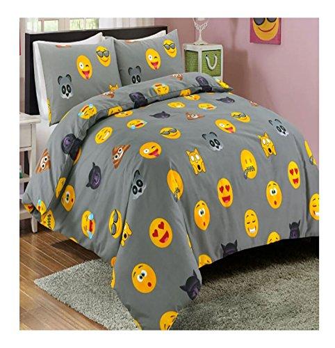 Islander Fashions Symbol Smiley Printed Reversible Bettw�sche Bettbezug Set mit Kissenbezug Grey Super King