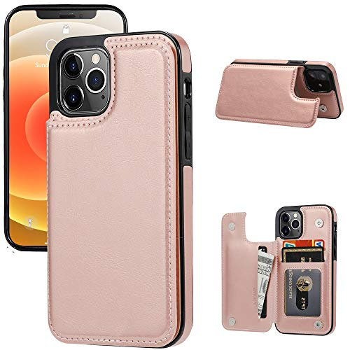"JOYAKI Wallet Case Compatible with iPhone 12 Pro/12,Slim Protective case with Card Holder,Premium PU Leather Kickstand Card Slots Case with Double Magnetic Clasp for iPhone 12pro/12(6.1"") (Rose Gold)"