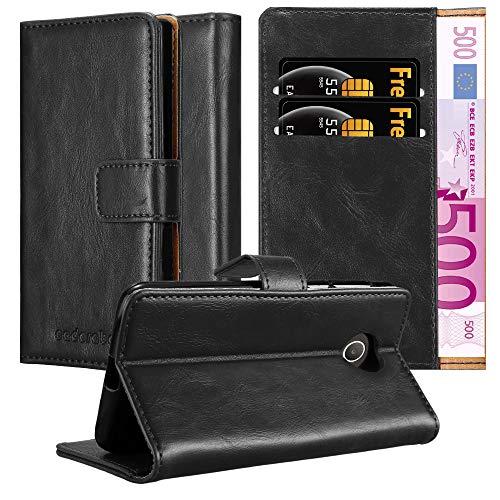 Cadorabo Hülle für Huawei Y330 in Graphit SCHWARZ – Handyhülle mit Magnetverschluss, Standfunktion und Kartenfach – Case Cover Schutzhülle Etui Tasche Book Klapp Style