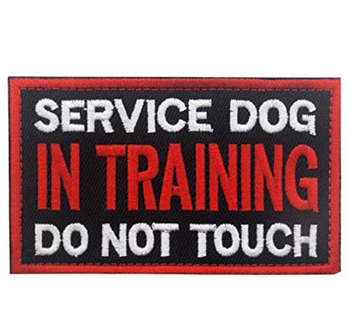 Patch Service Dog in Training Do Not Touch Vests/Harnesses Emblem Embroidered Fastener Hook & Loop Patch(Service Dog in Training-5)