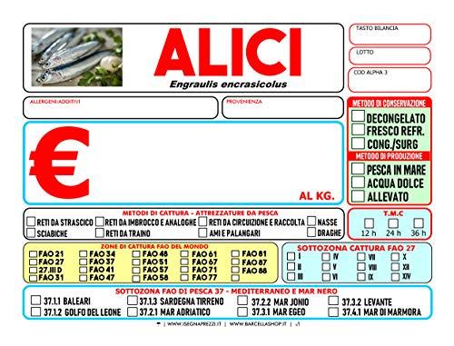 KIT 48 CARTELLINI PESCHERIA ITALIA MERIDIONALE PVC 500 MY FORMATO 7X10