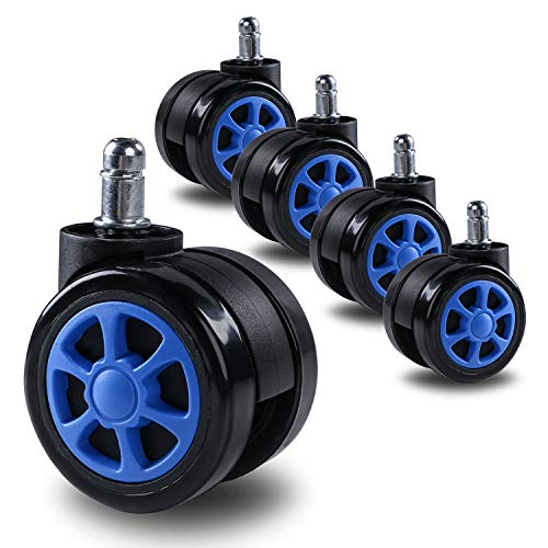 Office Chair Caster Wheels for Hardwood - Heavy Duty Replacement for Laminate and Carpets (Set of 5) Standard Size Replacement Swivel Gaming Chair Wheel