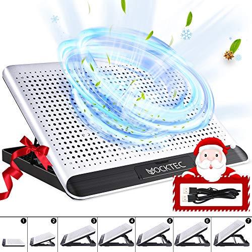 Yocktec Laptop Kühlpads 11-16 Zoll, Laptop Kühler Cooling Pad Notebook Cooler Ständer Kühlpad Kühlmatte, 2 Port USB, 6 Höheneinstellung, Aluminiumlegierung, Silent Windgeschwindigkeit