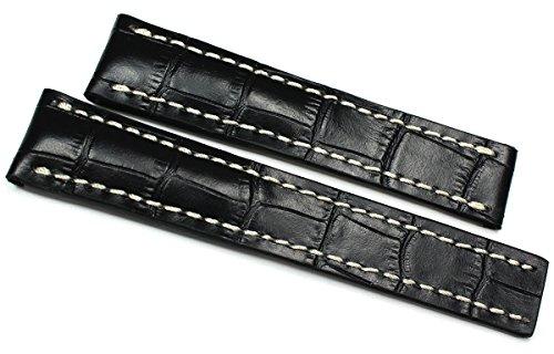 RIOS 1931 22mm Herren Leder Uhrenarmband Für Faltschließe Krokoprägung Handvernäht Breitling
