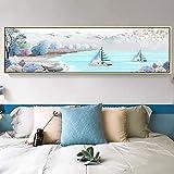 Carteles e impresiones artísticos abstractos navegación de la costa de la playa Pinturas en lienzo Cuadros artísticos pared para la decoración de la sala de estar 15.7 'x47.2' (40x120cm) Sin marco