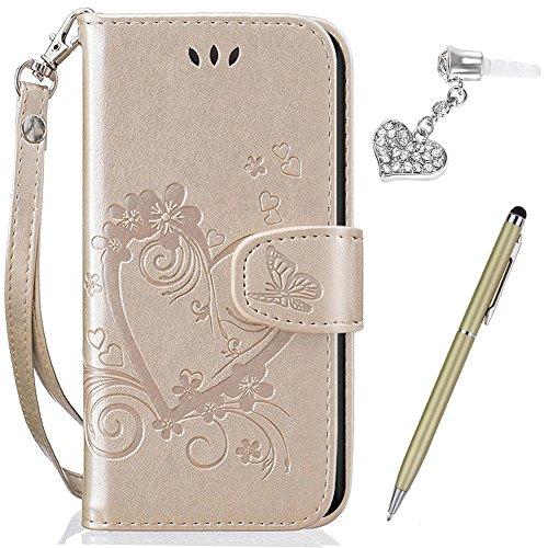 Kompatibel mit Huawei Y635 Hülle,Huawei Y635 Schutzhülle,Prägung Liebes Herz Schmetterlings Blumen PU Lederhülle Flip Hülle Handyhülle Ständer Tasche Wallet Hülle Schutzhülle für Huawei Y635,Gold
