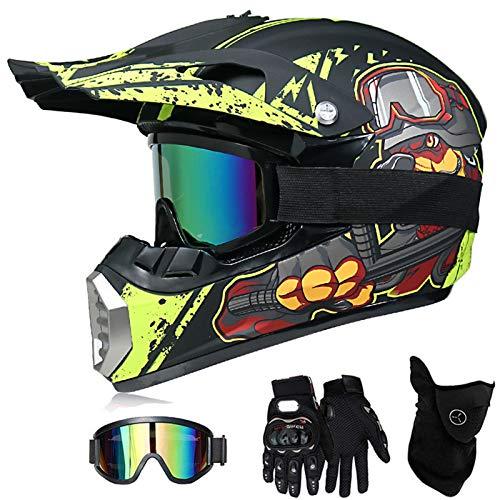 VOMI Casco de moto para niños con gafas, máscara, para mountain bike y motocross, para niño/niña, para bicicleta de montaña (amarillo y negro, S 52-53 cm)