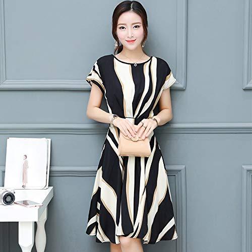 Hanks \'Shop. Kleid Enges kurzärmlig Gestreifte Strukturierter (Color : Black and White, Size : Free Size)