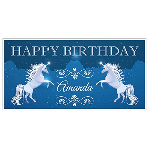 Fairy Tales Unicorn Birthday Banner Personalized Backdrop