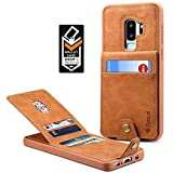 Spaysi Samsung Galaxy S9 Plus Wallet Case for Galaxy S9 Plus Credit Card Case Galaxy S9 Plus Leather Wallet Case Magnetic Closure Kickstand Gift Box for (Brown)