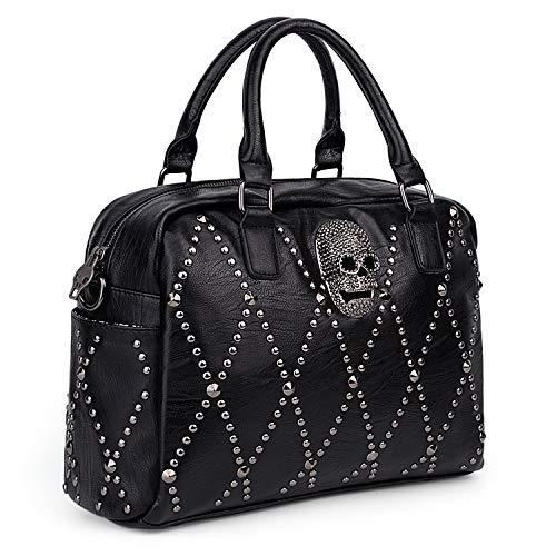 UTO Women Skull Handbag Rivet Studded Satchel PU Leather Purse Crossbody Shoulder Bags