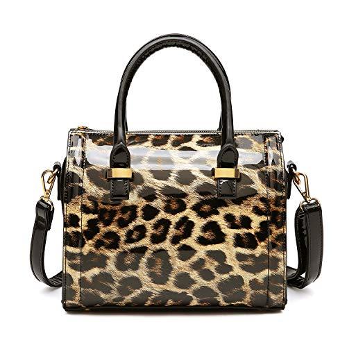 Shiny Patent Faux Leather Handbags Barrel Top Handle Purse Satchel Bag Shoulder Bag for Women(Leopard)
